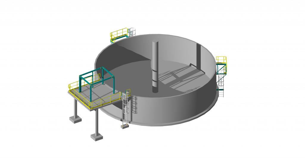 detail structural design of rc tank of sewage treatment plant at a factory  in legnica